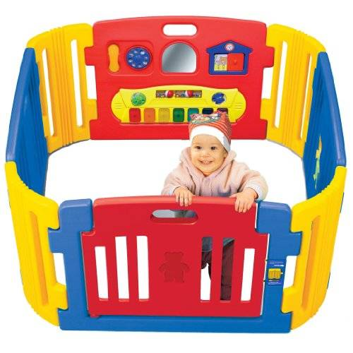 Friendly Toys Little Playzone Playpen w/ Electronic Lights and Sounds Play Yard, 8 piece