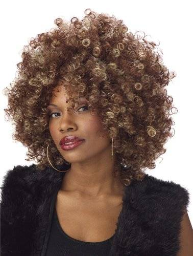 Fine Foxy Fro Highlighted Afro Wig Ladies Fancy Dress 1970s Disco Costume Accessory (peluca)