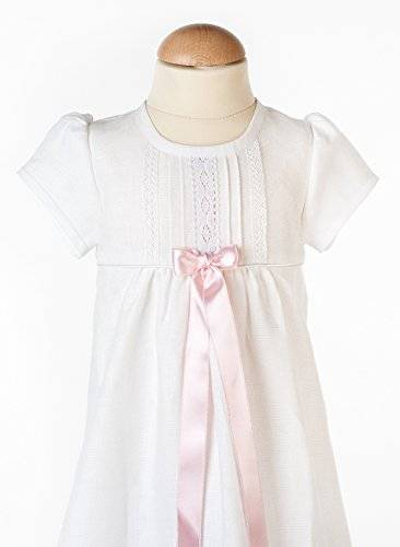 Grace of Sweden Bautizo Vestidos de novia antiguo Look con manga corta de Grace de Suecia blanco pink bow Talla:80/86, 11-18 month, chest 20,5 in.