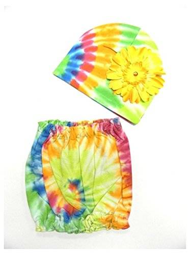 Jamie Rae Hats Rainbow Tie Dye Pipette Sets with Yellow Daisy, Size: 12-18m