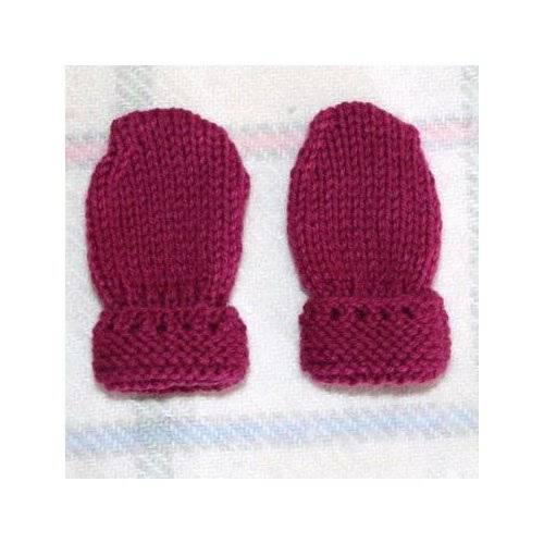 Tricot Créations Manoplas bebé: hecho a mano–Color Rosa Oscuro/6Meses