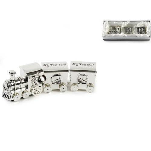 Widdop Train Money Box, Tooth & Curl Carriages- Silver Plated Baby Christening Gift by Widdop