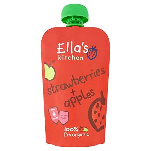 ELLA'S KITCHEN (VEGETARIAN) Ella's Kitchen Stage 1 From 4 Months Organic Apple and Strawberry 120 g (Pack of 7)