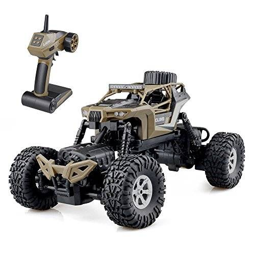 GizmoVine RC Coche Teledirigido RC Car 1/16 Off-road Rock Crawler 2.4GHZ 4WD Coche Escalada 4 Modo de Dirección Juguete Impermeable (Marrón)