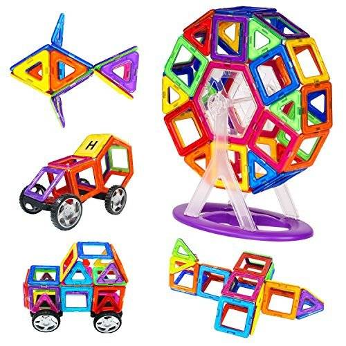 Zooawa Magnetic Tiles Sets, Zooawa Magnetic Plate Kits Discovery Construction Educational Shapes Toy 78 Pcs for Kids and Toddlers, Colorful