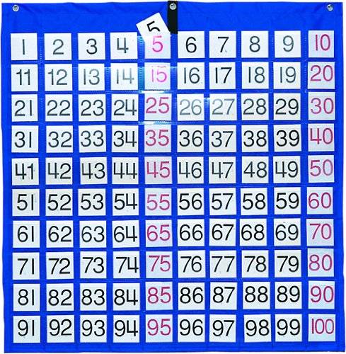 Carson Dellosa Hundreds Pocket Chart with 100 Clear Pockets, Colored Number Cards, 26 x 26