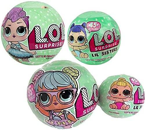 L.O.L. Surprise! Bundle of Lets Be Friends! - Series 2 Wave 1 & 2 LOL Surprise Doll and Her Lil Sister - Total of 4 Dolls