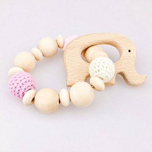 baby tete Beech Elephant Wooden Teether Juguetes Bebé Rattle Teether Natural Crochet Granos Bebé Toy Mom Bracelet Baby Teething