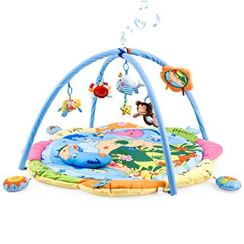 Safe&Care Large Baby Play Gym Mat, Safe & Care Musical Activity Learning Gym Mat Sensory Soft Mad for Toddler Newborn Baby with Tummy Time Pillow (Colourful Sea World)