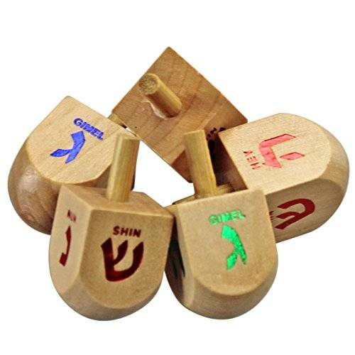 Judaica Mega Mall Classic 50 Medium Sized Wooden Dreidels in assorted colors (Instructions Included) by Judaica Mega Mall