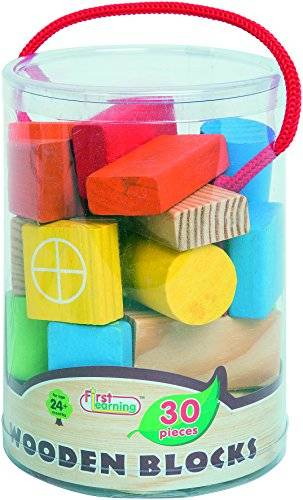 First learning co. ltd. mykids Mykids toy manufacturing co lt - 30 piezas madera construcción decoradas