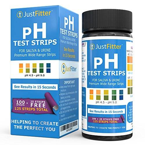Just Fitter pH Test Strips for Testing Alkaline and Acid Levels in the Body. Track & Monitor your pH Level using Saliva and Urine. Get Highly Accurate Results in Seconds. 125 strips per bottle (100 + 25 free).