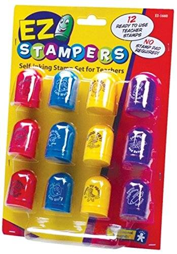 Learning Resources Educational Insights Ez Stampers - Juego de sellos de caucho con tinta incorporada para profesores