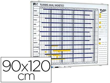 PLANNING SISPLAMO PLANNING MAGNETICO 1000/50 ANUAL DIA A DIA SUPERFICIE BLANCA ROTULABLE TAMAÑO 90X120 CM