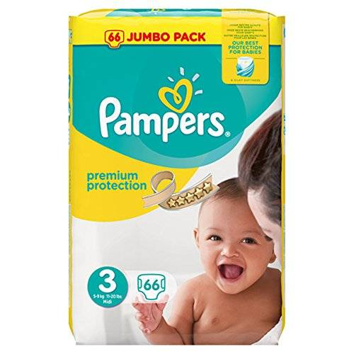 PAMPERS Premium Protection Taille 3 - 5 a 9kg - 66 couches - Format Jumbo pack