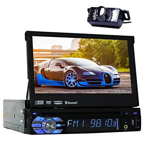 Eincar car radio + car monitor + 7 '' high definition touch screen HD + video and Audio + Bluetooth handsfree and playback music + red /bluetooth lighting + USB connection up to 32 GB! + SD card slot up to 32GB! + connection for Subwoofer + Autoradio Single DIN (1 DIN) Standard installation size + with remote control and frame+8GB SD card and Camera