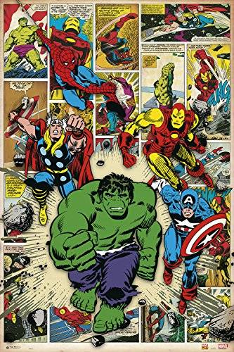 Grupo Erik Editores Poster Marvel Comic Here Come The Heroes