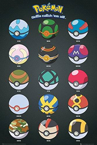 Grupo Erik Editores GB eye LTD, Pokemon, Pokeballs, Maxi Poster, 61 x 91,5 cm