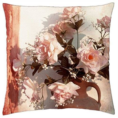 PillowDesign Pink roses in clay pot - Throw Pillow Cover Case (18