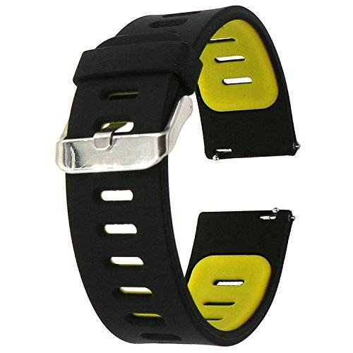 Desconocido 22mm correa silicona , EL-move 22MM Silicona Banda Correas Brazalete de Pulsera para Pebble Time / Gear S3 Classic / Gear2(Black Yellow)