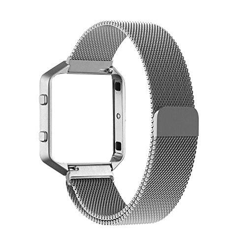 PUGO TOP Fitbit Blaze Accessories Band, PUGO TOP Metal Frame Housing with Magnet Lock Milanese Loop Stainless Steel Bracelet Strap Band for Fitbit Blaze Smart Fitness Watch -plata