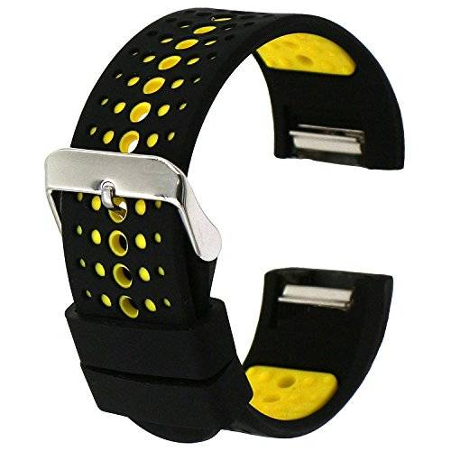 Woodln Watch Band Strap Ajustable Brazalete Reloj Banda Correa Pulsera para Fitbit Charge 2 Heart Rate Fitness Actividad (Black Yellow)
