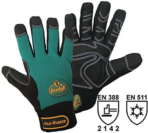 FERDYF. 1 par FerdyF Guantes Mecanica Cold Worker Verde-Negro, Color:Green-Black;Size:XL (10)