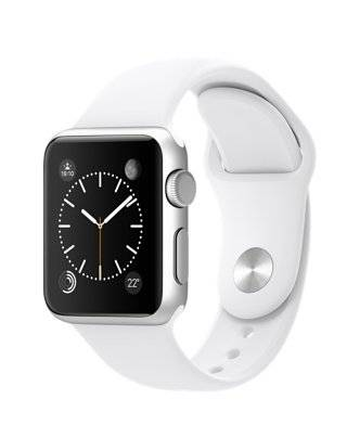 Apple Reloj Bluetooth Apple Apple Watch Sport Carcasa en aluminio (38 mm, Correa deportiva blanca) MJ2T2