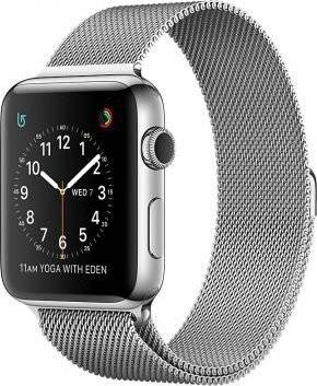 Apple - Watch series 2 caja de 42 mm de acero inoxidable y pulsera milanese loop