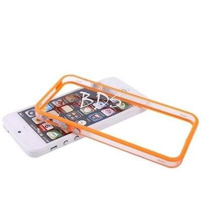 TB1 Products ® Best QualityIphone 5 5G 5S Transparent OrangeTPU Bumper Frame Rubber Case Cover W_ Metal Buttons for iPhone 5 5G 5S by TB1 Products ®