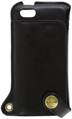Hamee BZGLAM High Quality Leather with Neck Strap Case for iPhone 5s/5 (Black)