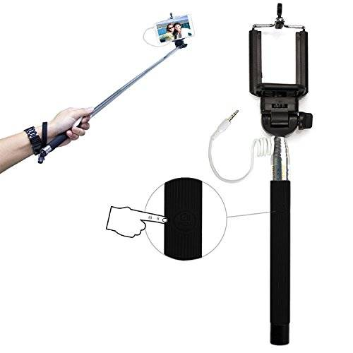 PCMOVILES -- Negro Selfie Stick / Palo para Selfies extensible con cable para Samsung galaxy note 3 neo
