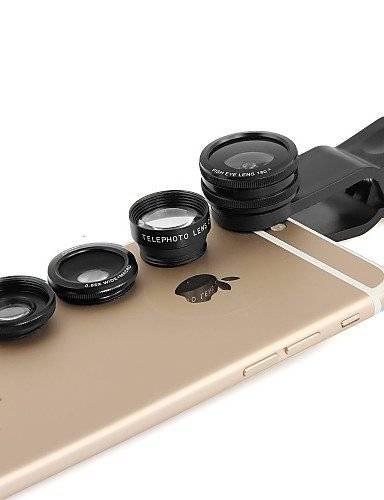 HUYGHJ Apexel 4 in 1 Clip 2X Telephoto,Fisheye,Macro Lens&0.65X Wide Lens for Samsung Galaxy S6/Note 5 Phones (Assorted Colors) , golden KKKAOOL