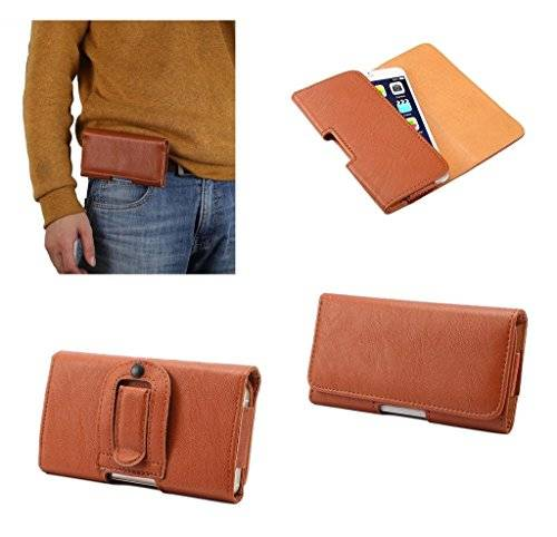 DFV mobile - Case synthetic leather horizontal belt clip for = InFocus M2 3G  Brown