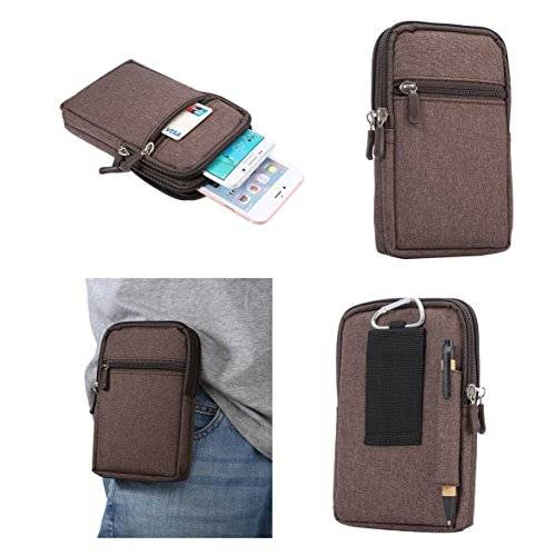 DFV mobile - Universal Multi-functional Vertical Stripes Pouch Bag Case Zipper Closing Carabiner for = LG OPTIMUS LTE II, LG F160  Brown (17 x 10.5 cm)