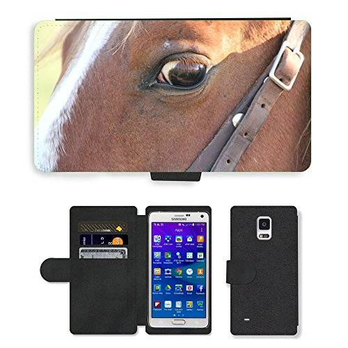 Grand Phone Cases PU LEATHER case coque housse smartphone Flip bag Cover protection // M00141404 Animal Caballo Brown admiten la cabeza // Samsung Galaxy Note 4 IV