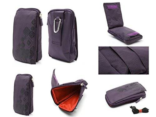 DFV mobile - Multi-functional vertical stripes nylon pouch bag case zipper closing carabiner for = iNew ONE  color PURPLE