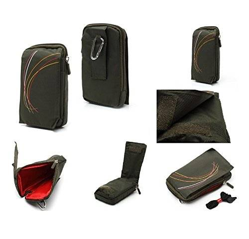 DFV mobile - Multi-functional Universal Vertical Stripes Pouch Bag Case Zipper Closing Carabiner for = HIGHSCREEN BOOST 3 PRO  GREEN (16 x 9.5 cm)