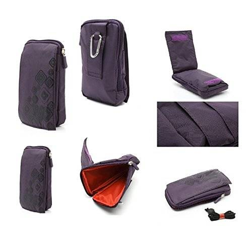 DFV mobile - Multi-functional Universal Vertical Stripes Pouch Bag Case Zipper Closing Carabiner for = DOOGEE Y200  PURPLE (16 x 9.5 cm)