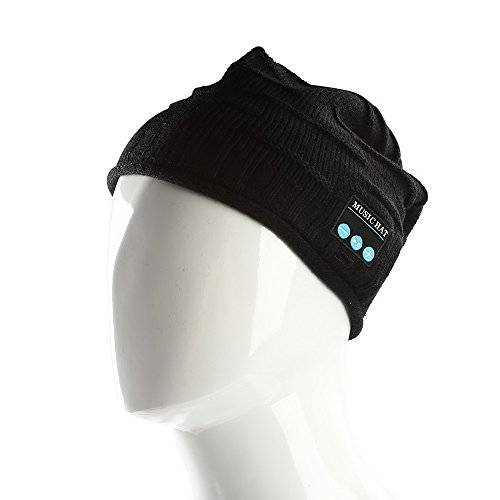 SainSonic MH Rechargeable Bluetooth Beanie Comfy Bluetooth Hat with Wireless Headphone Stereo Speaker and Mic for Winter Jogging, Biking and More Outdoor Recreation (Fashion Black)
