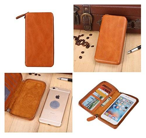 DFV mobile - Executive Wallet Case with Magnetic Fixation and Zipper Closure for = INFOCUS AQUA ACTIVE  Brown
