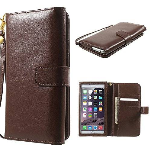DFV mobile - Crazy Horse PU Leather Wallet Case with Frame Touchable Screen and Card Slots for = Micromax A110 Canvas 2  Brown