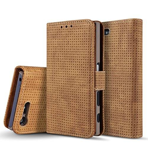 casefirst Sony Xperia X Compact Card Holder Case, Sony Xperia X Compact Wallet Case Slim, Sony Xperia X Compact Folio Leather case cover Shockproof Case with Credit Card Slot, Durable Protective Case for Sony Xperia X Compact (Brown )