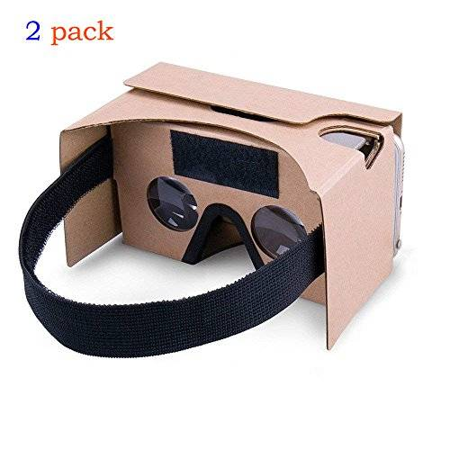 Virtual Real Store 2Pack Google Cardboard,Virtual Real Store 3D VR Headset Virtual Reality Glasses Box with Big Clear 3D Optical Lens and Comfortable Head Strap Nose Pad for iPhone and Smartphones