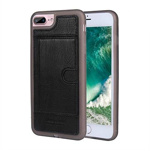 Pierre Cardin Funda iPhone 7 Plus, Pierre Cardin Serie simple tarjeta de la carpeta del cuero genuino soporte suave de silicona caso de la contraportada para Apple iPhone 7 Plus, Negro