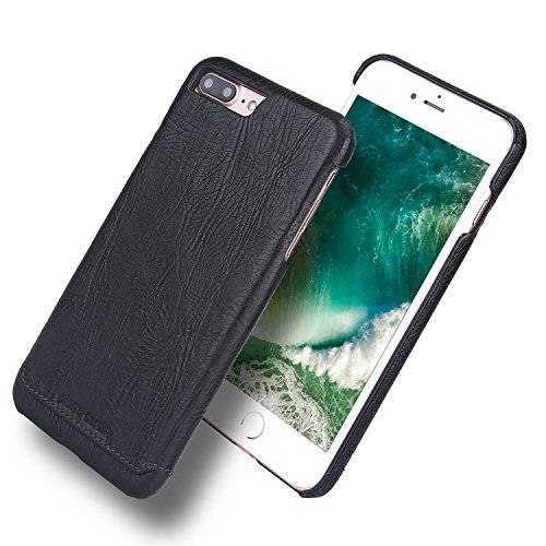 Pierre Cardin Funda Para iPhone 7 Plus & iPhone 8 Plus, lujo delgado del cuero genuino duro de la cubierta del caso para Apple iPhone 7 Plus & iPhone 8 Plus 5.5 Pulgada -Negro
