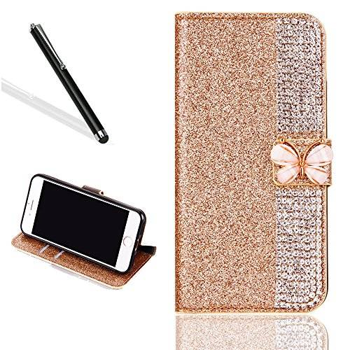 Leeook Galaxy J5 2016 Diamante Funda, Bling brillante funda para Samsung J5 2016, leeook Lujo noble Sparkle Lila Strass Kristall Diamond Funda de cuero PU Funda Funda FLIP Folio Case purpurina portatil Stand Wallet Funda Cover ID Card Tarjeta Funda Skin Shell Funda Bumper con mariposa cierre magnético para Samsung Galaxy J5 2016 + 1 x Negro Lápiz de Purple