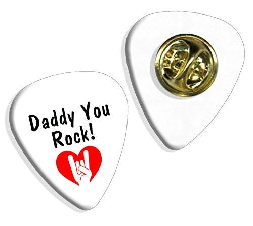 Live Performance Daddy You Rock Fathers Day Guitarra Pick Badge Placa (GD)