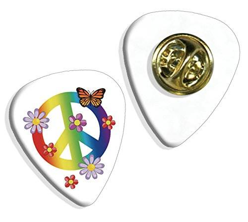 Live Performance Peace Love Cnd Sign Symbol Guitarra Pick Badge Placa (GD)