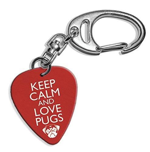 Live Performance Keep Calm And Love Pugs Logo Guitarra Pick Keyring Llavero (GD)